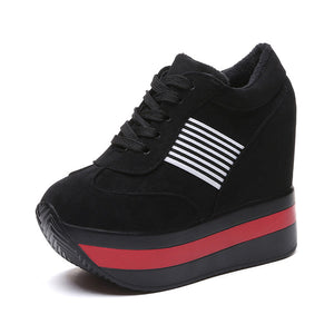 Leisure High Heel Black Red Women Sneakers-Sneakers-Trendy-JayBoutique-Black-35-35 36 37 38 39-Trendy-JayBoutique