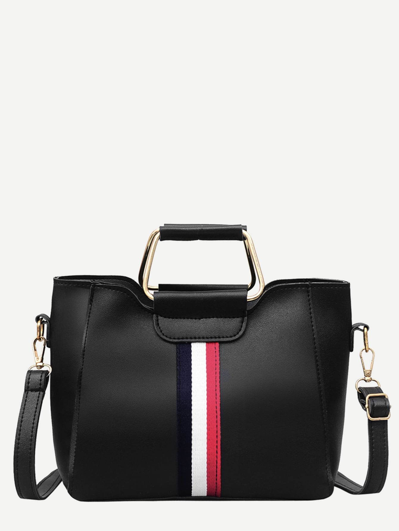 Striped Detail Satchel Bag With Clutch-Hand bags-SHEIN-Black-Trendy-JayBoutique