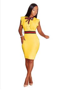 Office Lady- Women Formal Bodycon Dress-Dress-Trendy-JayBoutique-yellow-S-Asian Size-Trendy-JayBoutique