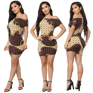 Female Panelled Bodycon One-shoulder Dress-Dress-Trendy-JayBoutique-Brown-S-Asian Size-Trendy-JayBoutique