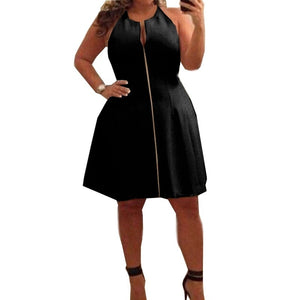 Plus Size- Skater Skirt Party Dress-Dress-fashionforgirls-Black-L-Trendy-JayBoutique