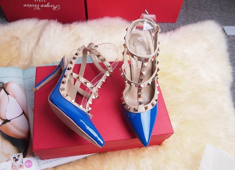 Designer Fashion Rivets Double Straps Sandals-Shoes-Trendy-JayBoutique-Blue-US4=EUR35-6CM (high heels)-Trendy-JayBoutique