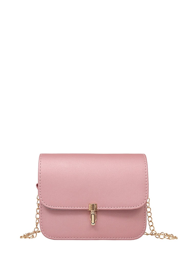 PU Flap Shoulder Bag With Chain-handbag-SHEIN-Pink-Trendy-JayBoutique