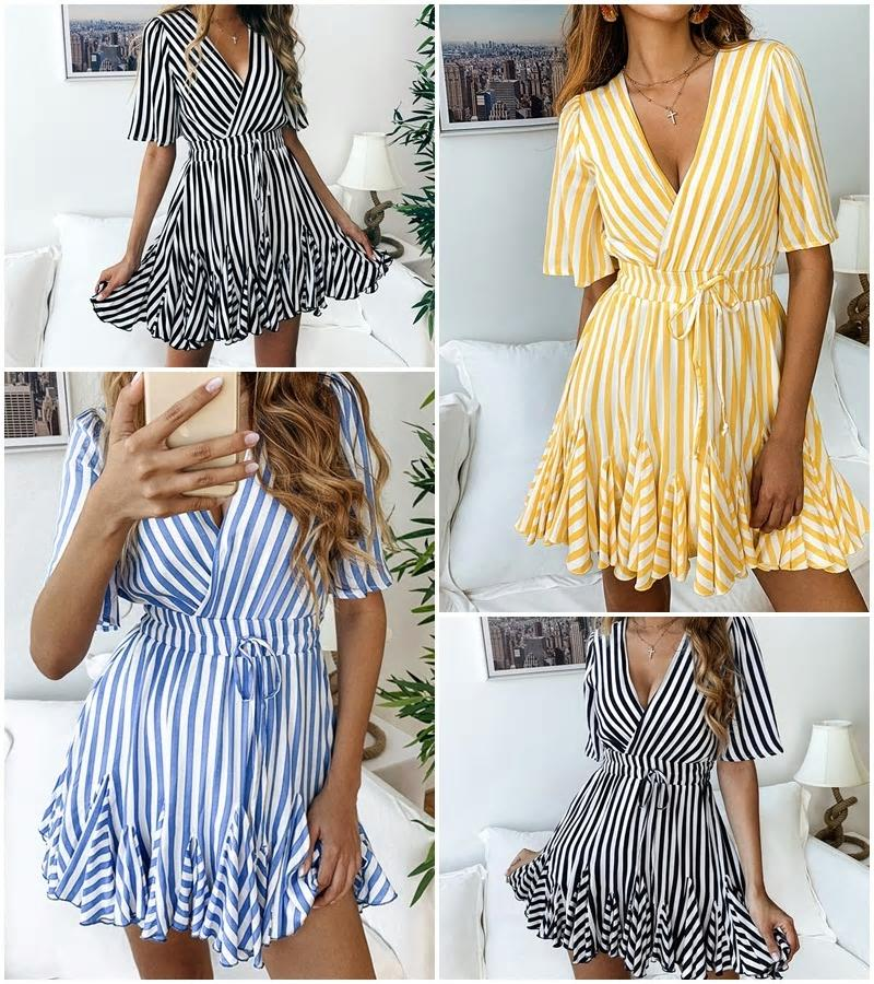Elegant V-Neck Print Stripped Dress-Dress-Trendy-JayBoutique-Trendy-JayBoutique