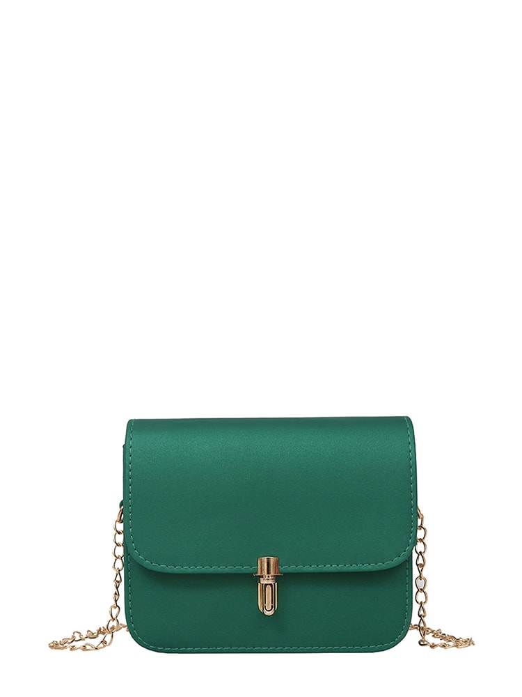 PU Flap Shoulder Bag With Chain-handbag-SHEIN-Green-Trendy-JayBoutique
