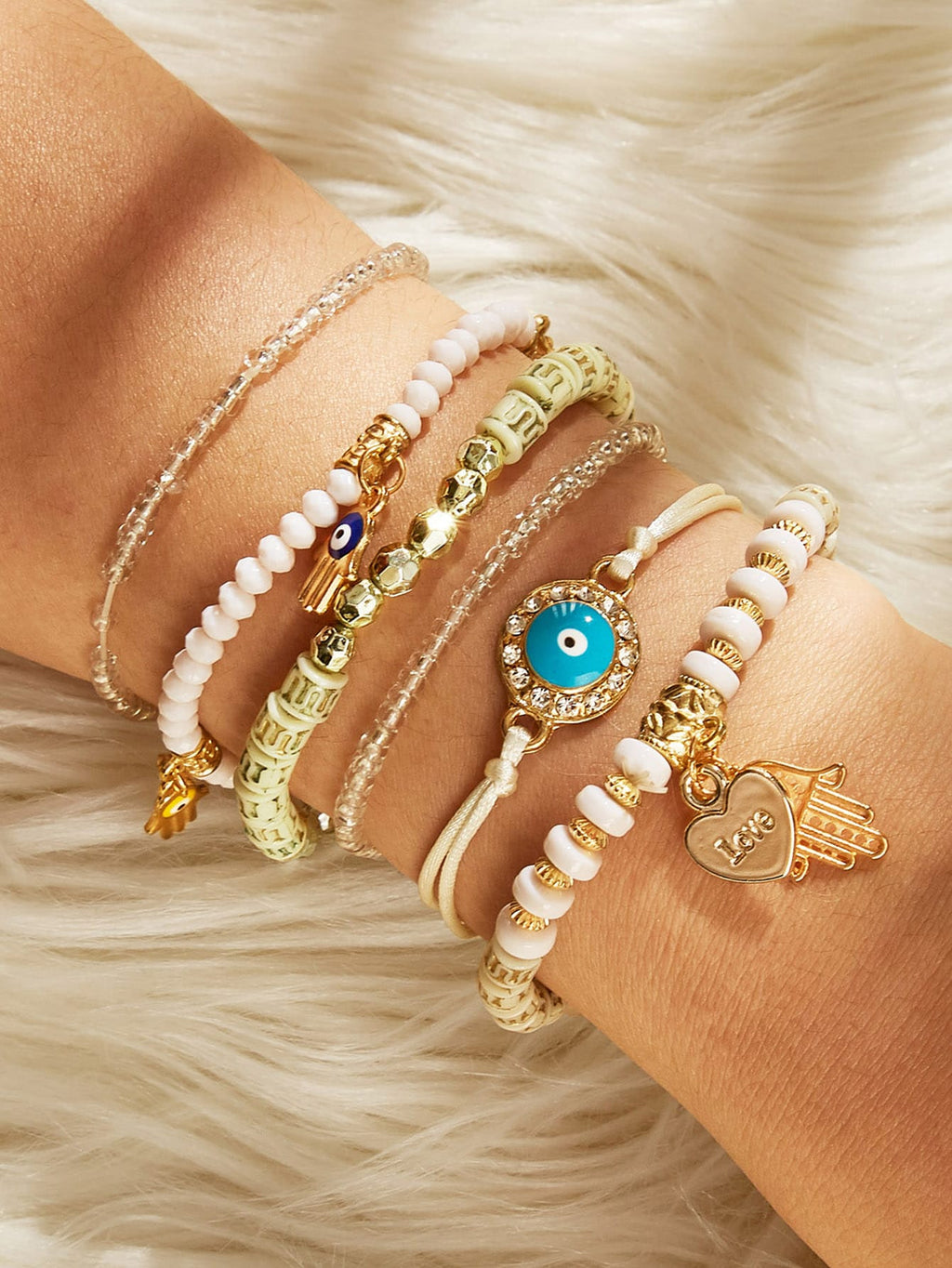 Hand & Heart Charm Beaded Bracelet Set 6pcs-Women - Jewelry - Necklaces-SHEIN-Trendy-JayBoutique