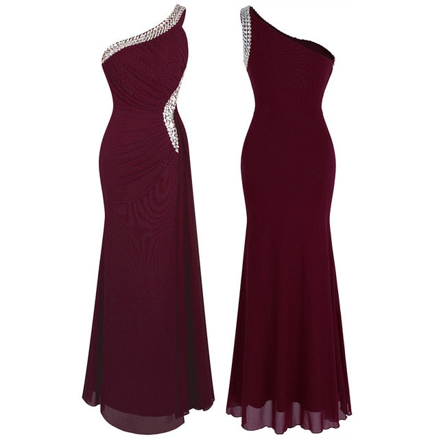 Angel Draped Evening Dress-bridesmaid dress-Trendy-JayBoutique-wine red 411-14-China-Trendy-JayBoutique
