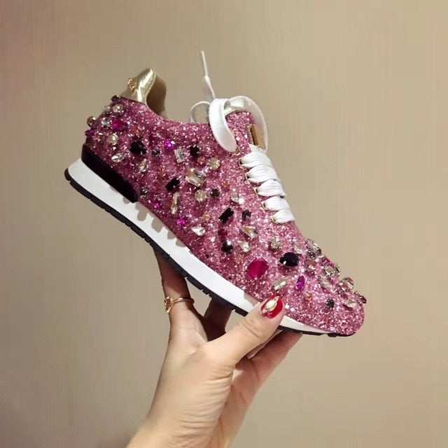 Designer Women's Rhinestones Leather Sneakers-shoes-Trendy-JayBoutique-Pink-35-Trendy-JayBoutique