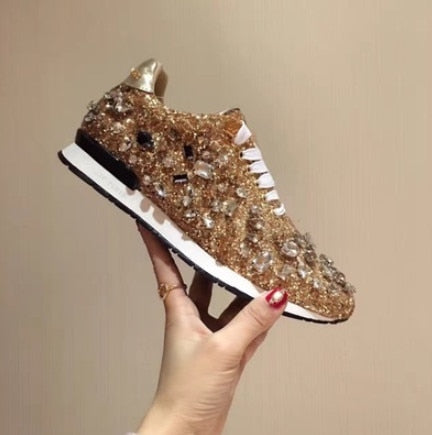Designer Women's Rhinestones Leather Sneakers-shoes-Trendy-JayBoutique-Gold-35-Trendy-JayBoutique