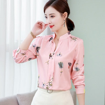 Ladies Button Patchwork Long Sleeve Shirt-shirt-Trendy-JayBoutique-Pink V-XXL-Trendy-JayBoutique