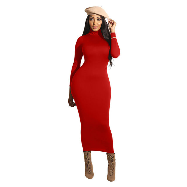 'Aria' Maxi Winter Long Sleeve Dress-turtle neck dress-Trendy-JayBoutique-Red-L-Trendy-JayBoutique