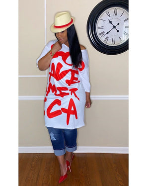 Oversized Letter Print White Fashion Dress-Dress-Trendy-JayBoutique-White-L-Trendy-JayBoutique