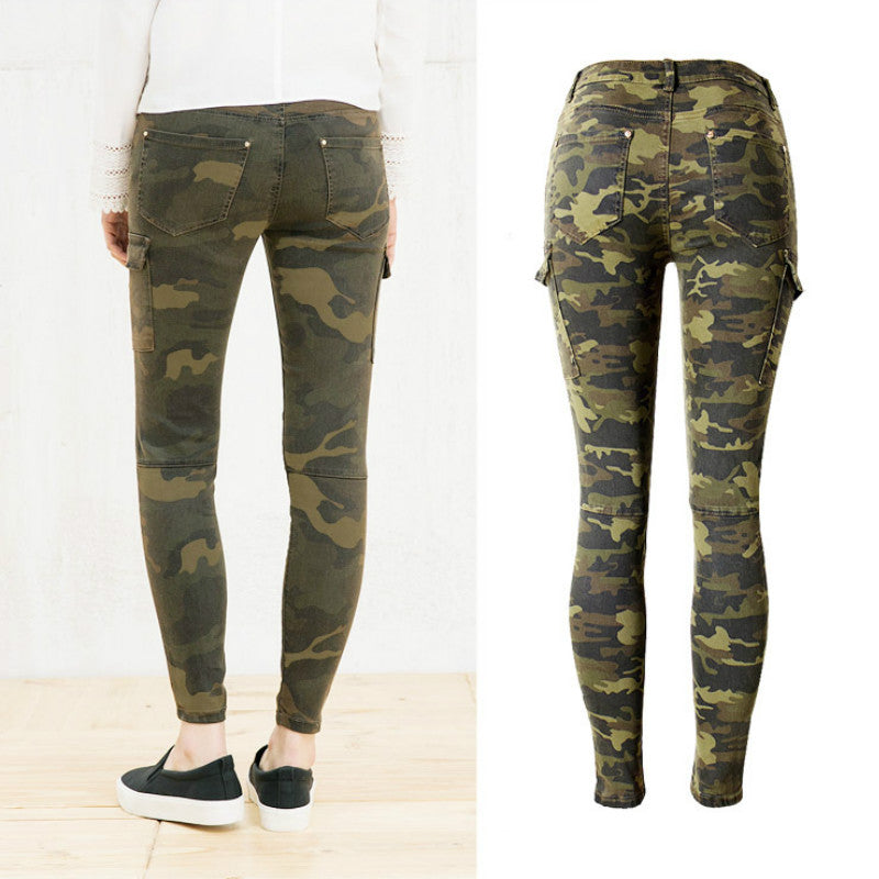 Skinny Women's Camouflage Pockets Vintage Trousers-camouflage jeans-Trendy-JayBoutique-Green-34-Trendy-JayBoutique