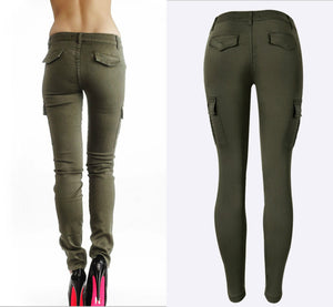 Army Green - Fashion Elastic Skinny Jeans-trousers-Trendy-JayBoutique-Green-34-Trendy-JayBoutique