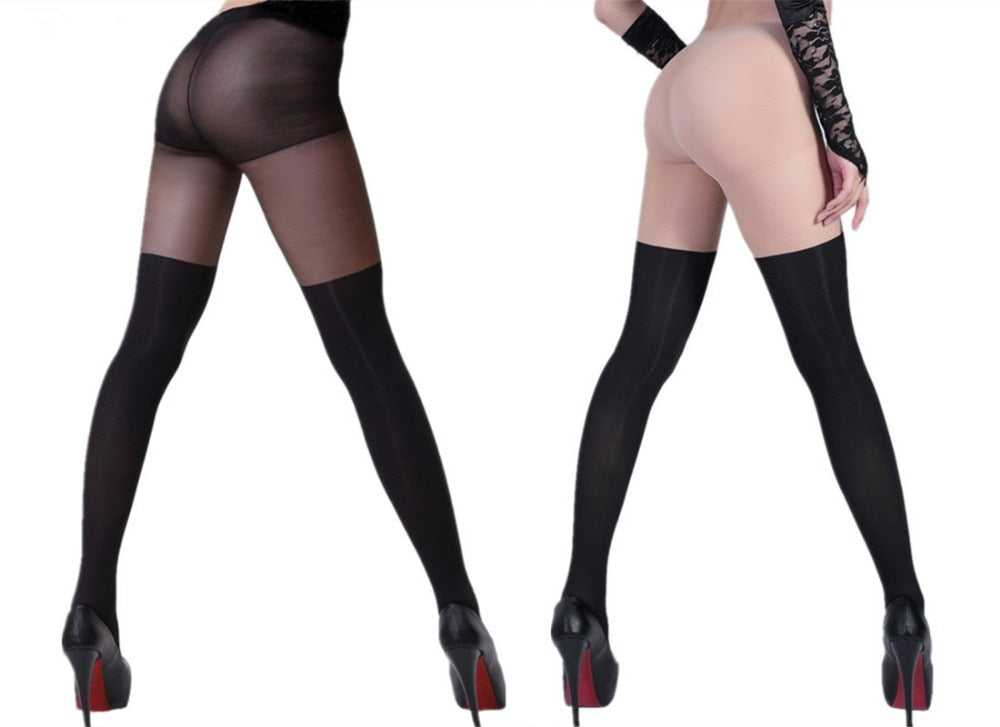 Black Sheer False High Stocking Tight-tight-Trendy-JayBoutique-Skin Black-One Size-Trendy-JayBoutique