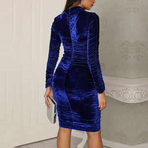 Women's Velvet Turtleneck Vintage Midi Dress-velvet dress-Trendy-JayBoutique-Blue-L-Trendy-JayBoutique