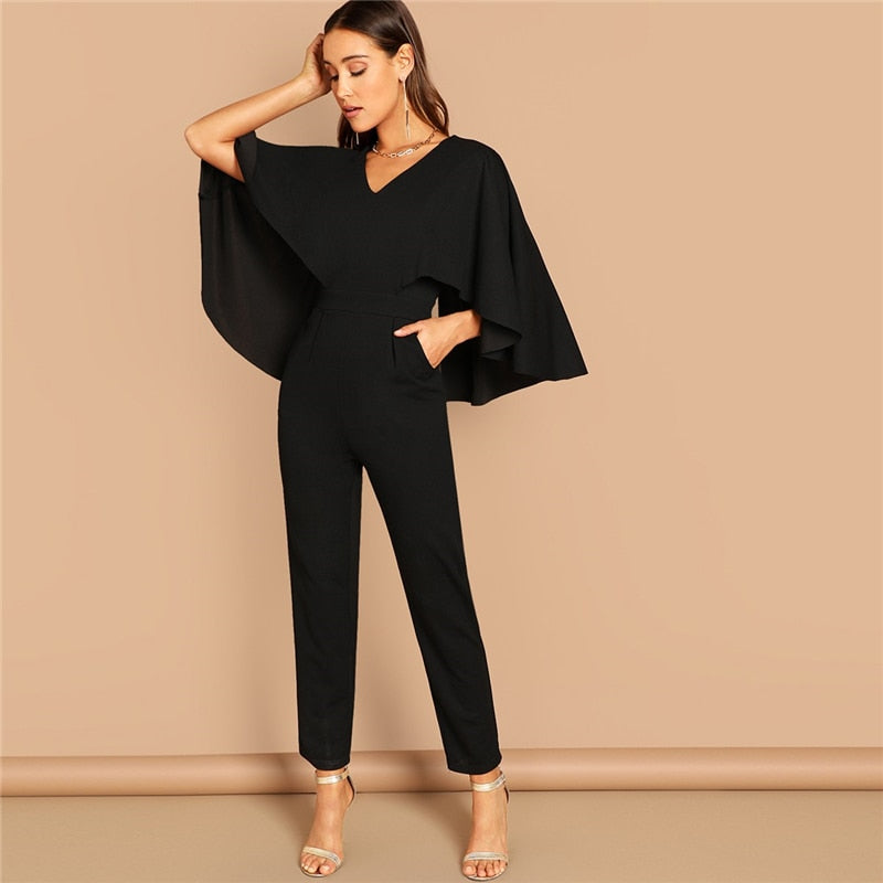 V-Neck Cloak Sleeve Women's Jumpsuit-jumpsuit-Trendy-JayBoutique-Black-XS-Trendy-JayBoutique