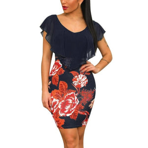 Sleeveless Floral Printed Party Dress-Floral Dress-Trendy-JayBoutique-Navy A-M-China-Trendy-JayBoutique
