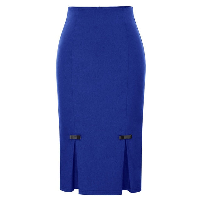 Vintage Retro Bow-Knot Bodycon Skirt-pencil skirt-Trendy-JayBoutique-Dark Blue-S-Trendy-JayBoutique