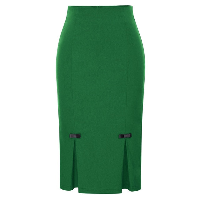 Vintage Retro Bow-Knot Bodycon Skirt-pencil skirt-Trendy-JayBoutique-Dark Green-S-Trendy-JayBoutique