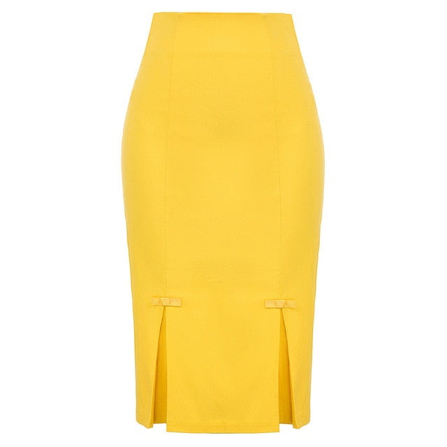 Vintage Retro Bow-Knot Bodycon Skirt-pencil skirt-Trendy-JayBoutique-Yellow-S-Trendy-JayBoutique