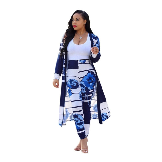 Boho Long Trench Top & Bodycon Pant Set-2 piece outfits-Trendy-JayBoutique-Blue-S-Trendy-JayBoutique