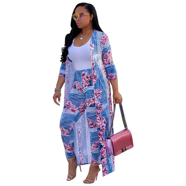 Boho Long Trench Top & Bodycon Pant Set-2 piece outfits-Trendy-JayBoutique-Sky Blue-S-Trendy-JayBoutique