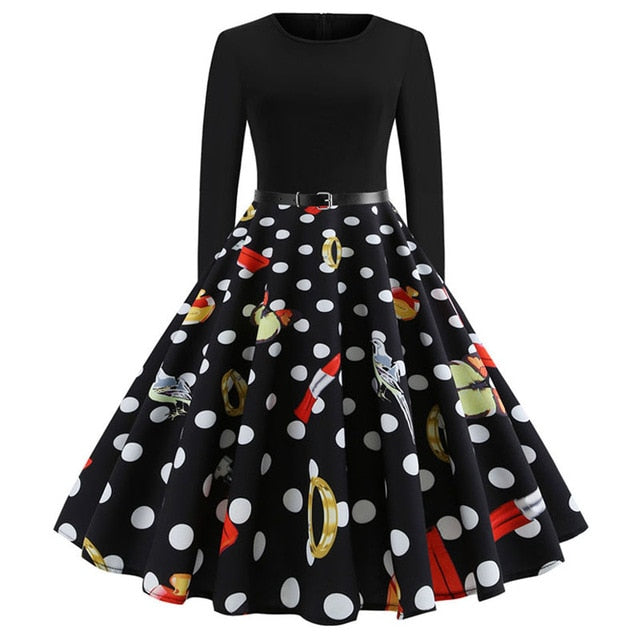 'Rockabilly' Elegant Party Swing Christmas Dress-Dress-Trendy-JayBoutique-013-S-Trendy-JayBoutique