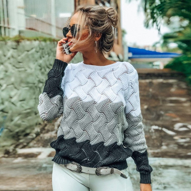 Long Sleeve Crew-neck Knitted Pullover Sweater-sweater-Trendy-JayBoutique-White-S-Trendy-JayBoutique