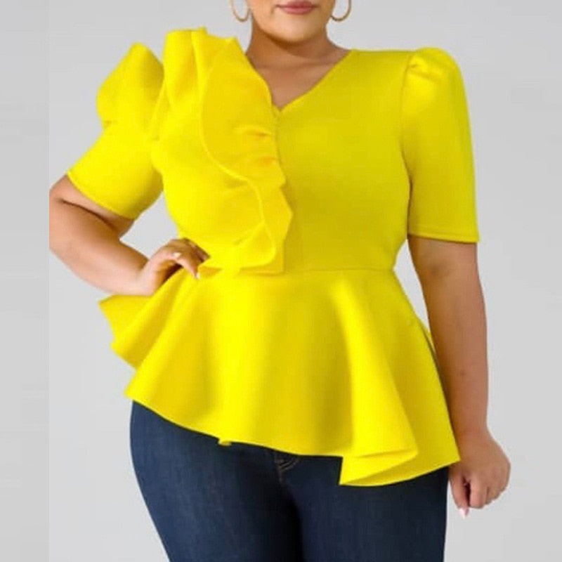 Yellow Ruffles Peplum Blouse-ruffles blouse-Trendy-JayBoutique-Yellow-XXL-Trendy-JayBoutique