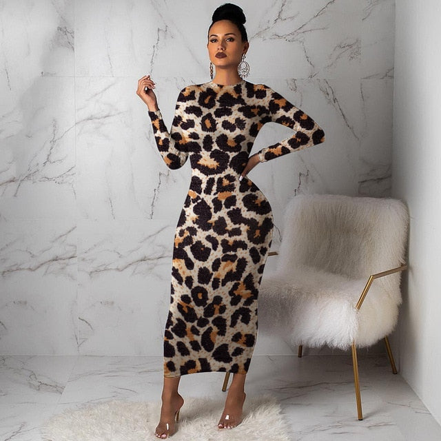 Women Leopard Long Sleeve Dress-women's dress-Trendy-JayBoutique-Leopard-L-United States-Trendy-JayBoutique