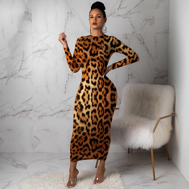Women Leopard Long Sleeve Dress-women's dress-Trendy-JayBoutique-Brown-S-United States-Trendy-JayBoutique