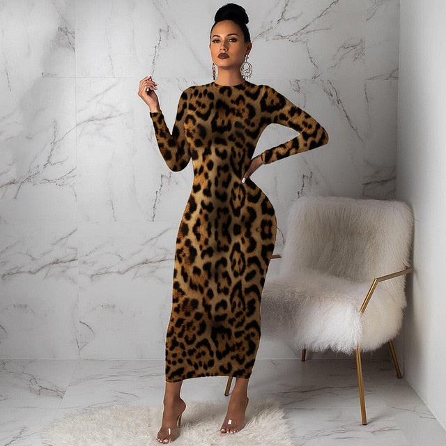 Women Leopard Long Sleeve Dress-women's dress-Trendy-JayBoutique-Black-XL-United States-Trendy-JayBoutique