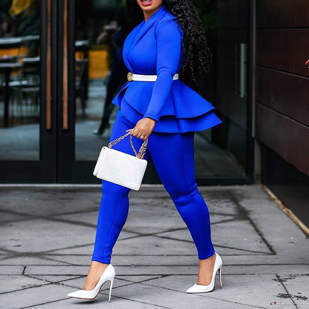 Elegant Female Casual Business Suit-Set-2 piece outfits-Trendy-JayBoutique-Blue-XL-Trendy-JayBoutique