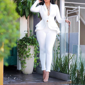 Elegant Female Casual Business Suit-Set-2 piece outfits-Trendy-JayBoutique-White-XL-Trendy-JayBoutique