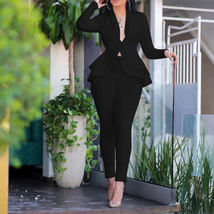 Elegant Female Casual Business Suit-Set-2 piece outfits-Trendy-JayBoutique-Black-L-Trendy-JayBoutique