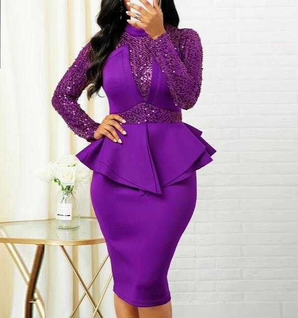 Peplum Waist Sequin Detail Dress-Dress-Trendy-JayBoutique-Purple-XXL-Trendy-JayBoutique