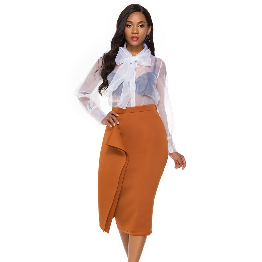 Fashion Black Pencil Skirt-Skirt-Trendy-JayBoutique-Brown-M-Trendy-JayBoutique