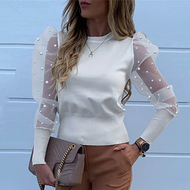 Fashion Pearl Transparent Shirt-sheer blouse-Trendy-JayBoutique-01 Pearl White-XL-Trendy-JayBoutique