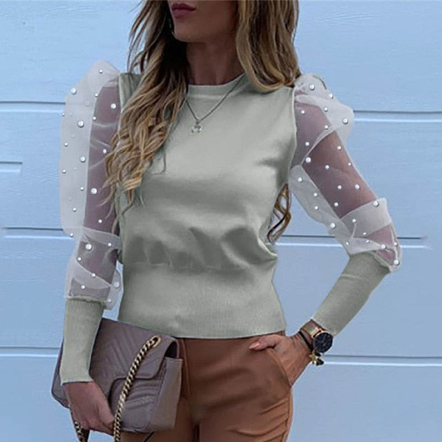 Fashion Pearl Transparent Shirt-sheer blouse-Trendy-JayBoutique-01 Pearl Gray-XXL-Trendy-JayBoutique