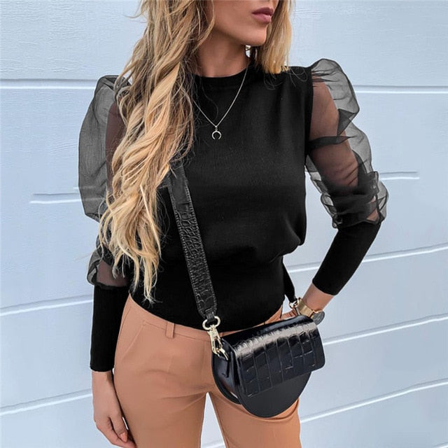 Fashion Pearl Transparent Shirt-sheer blouse-Trendy-JayBoutique-02 Solid Black-XXL-Trendy-JayBoutique