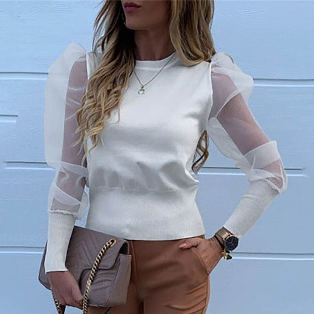 Fashion Pearl Transparent Shirt-sheer blouse-Trendy-JayBoutique-02 Solid White-XL-Trendy-JayBoutique
