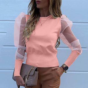 Fashion Pearl Transparent Shirt-sheer blouse-Trendy-JayBoutique-02 Solid Pink-XXL-Trendy-JayBoutique