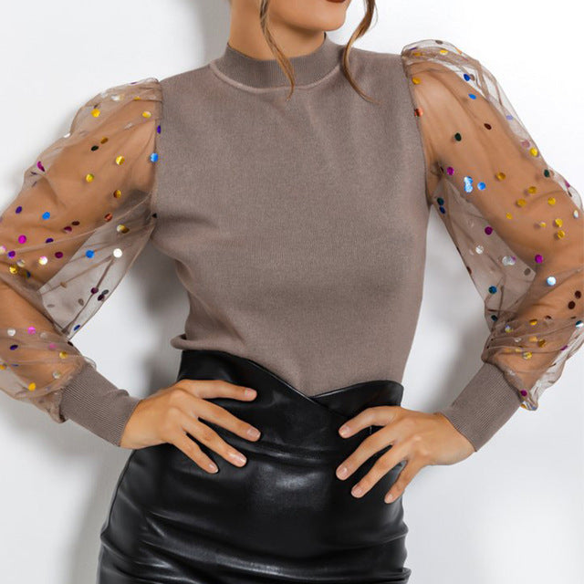 Fashion Pearl Transparent Shirt-sheer blouse-Trendy-JayBoutique-05 Polka Dot Brown-S-Trendy-JayBoutique