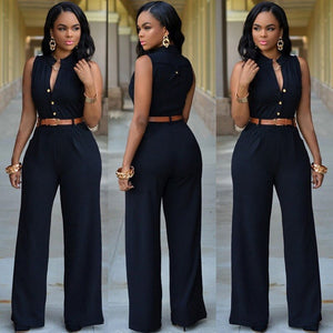 Sleeveless V-neck Jumpsuit-jumpsuit-Trendy-JayBoutique-Black-XL-Trendy-JayBoutique