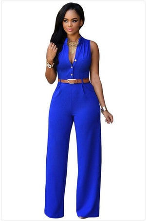 Sleeveless V-neck Jumpsuit-jumpsuit-Trendy-JayBoutique-Blue-M-Trendy-JayBoutique