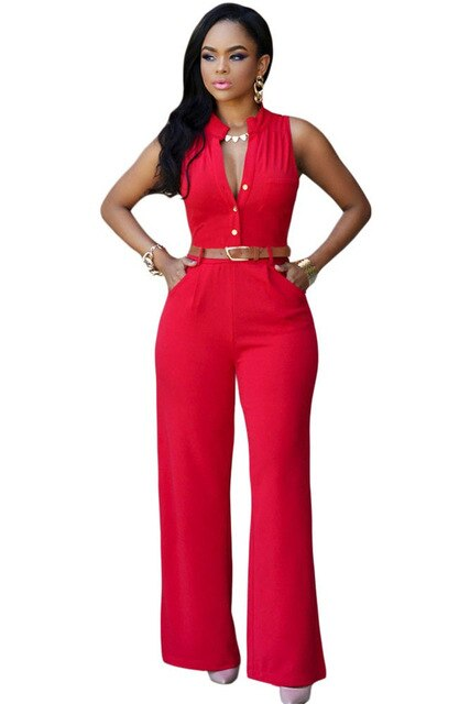 Sleeveless V-neck Jumpsuit-jumpsuit-Trendy-JayBoutique-Red-S-Trendy-JayBoutique