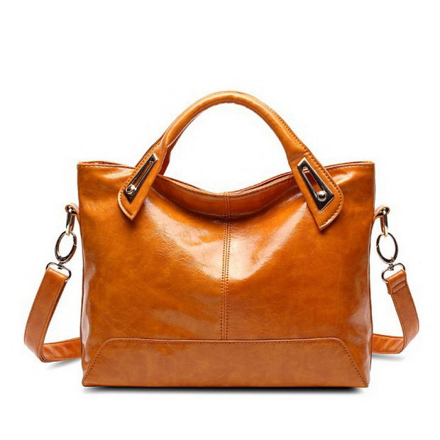 High Quality Oil-Wax Leather Handbag-handbag-Trendy-JayBoutique-Brown-Trendy-JayBoutique