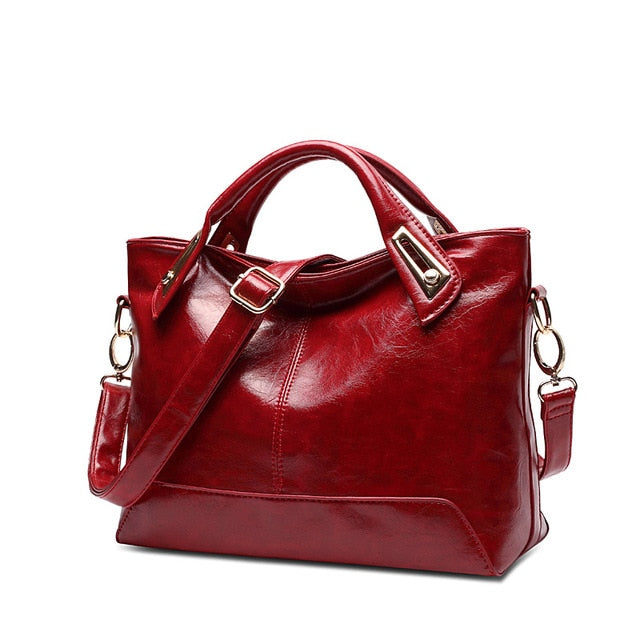 High Quality Oil-Wax Leather Handbag-handbag-Trendy-JayBoutique-Burgundy-Trendy-JayBoutique