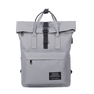 External USB-Charge Backpack Canvas-Canvas Backpack-Trendy-JayBoutique-gray-Trendy-JayBoutique